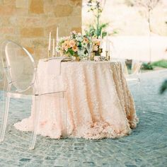 Peach Square Sequin Table Linens custom size available