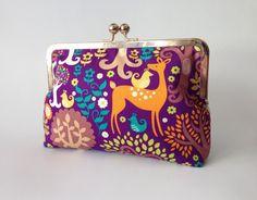 Purple Orange Teal Fall Forest Pattern Gold Metal Frame by Lunacyn