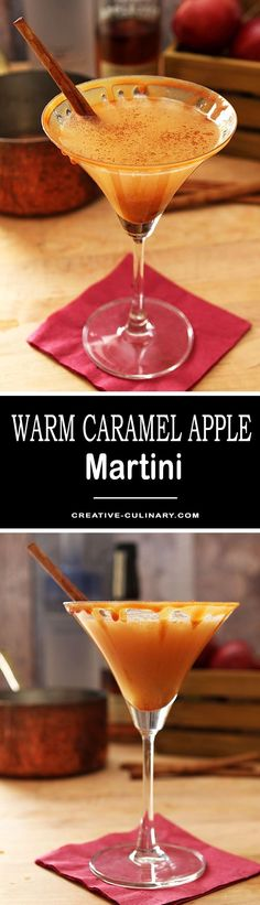 This is a lovely cool weather dessert cocktail with flavors of apple and caramel; the vodka keeps this Warm Caramel Apple Cider Martini honest as a cocktail and it's so good! via @creativculinary
