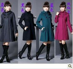 Novo longo casaco de lã double-breasted Outono magros blusão casuais jaqueta tamanho mulheres inverno pesado US $24.90 - 32.69