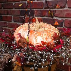 Hanging basket with Autumn decor.