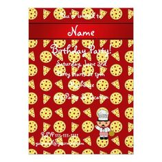 Personalized name italian chef red pizza pattern personalized invites