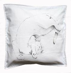 Kitten pillow cover throw pillow black cat white by KropkaDesign