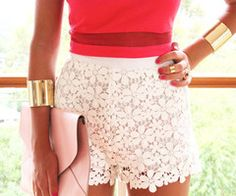 lace shorts and gold cuffs