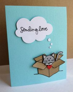 Do on red background for Valentine's. stamped and pieced cardboard box with a cat peeking out . luv the die cut thought cloud with graduated sizes of bubbles floating up to it Cat Cards, Kids Cards, Cards Diy, Tarjetas Diy, Handmade Birthday Cards, Love Cards Handmade, Cute Birthday Cards, Pop Up Cards, Valentine Day Cards