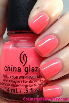 China Glaze in Shell-O.  Another purchase I made from the China Glaze Summer '13 Sunsational line.  The line is made of half cremes and half jellies.  This is the only jelly finish I bought.  The cremes applied much better.  The color is cute on this one, but I wasn't a fan of the finish (or the name for that matter... inside joke lol).  It's more pink in person, very nautical and very bright.