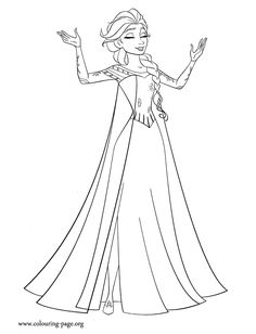 Another beautiful Disney Frozen movie coloring page. Here is Elsa, the Queen of Arendelle. She is also known as the Snow Queen! Have fun!