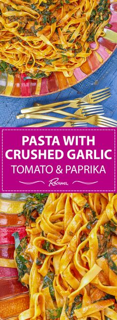 Pasta With Crushed Garlic, Tomato And Paprika Sauce Rachael Ray's Pasta w/ Crushed Garlic, Tomato & PaprikaRachael Ray's Pasta w/ Crushed Garlic, Tomato & Paprika Crushed Tomato Recipe, Vegetarian Recipes, Cooking Recipes, Healthy Recipes, What's Cooking, Baked Honey Garlic Chicken, Rachel Ray Recipes, Paprika Sauce, Kitchens