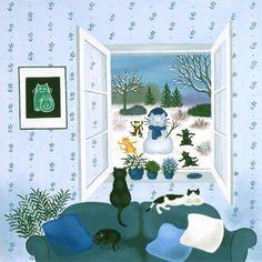 Winter cat painting. Yolande Salmon-Duval.