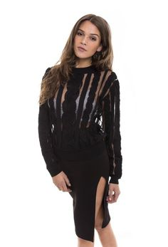 3ebac51cc17e Sheer black sweater with thick fabric knotting all over   ribbed collar,  sleeve, and bottom detailing.