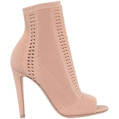 Gianvito Rossi Women 100mm Stretch Knit Open Toe Booties (948 AUD) ❤ liked on Polyvore featuring shoes, boots, ankle booties, heels, pink, nude, high heel boots, open toe heel boots, pink high heel boots and pink boots