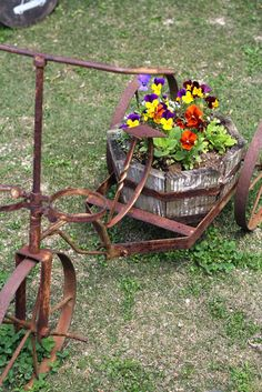 pansy, tricycle, rusty, shabby, junk style