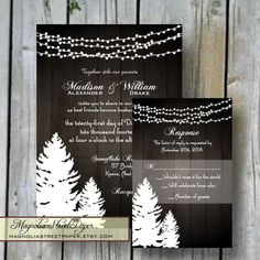 Winter Wedding Invitation, Printable Christmas Wedding Invitation, Rustic Holiday Wedding Invitation, Pine Trees and Strings of Lights