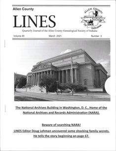 County Line, National Archives, Family History, Genealogy, Indiana, Articles