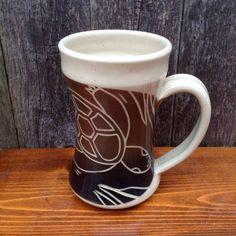 Brown Turtle Mug made by Jean's Clay Studio, Milwaukee, Wisconsin.