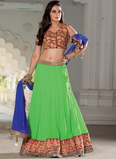 Wear this Green Georgette Embroidered Patch Border Work Resham Work Designer Lehenga Choli. For an upcoming special occasion and let all eyes follow you. This gorgeous Green color lehenga Choli, comes with a beautiful blouse. Made from  Georgette Fabric. Its having Embroidered, Patch Border Work, Resham Work. It will complement with ewellery and heels.