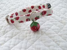 Strawberry  Cat  Collar Breakaway Collar by graciespawprints, $9.50 - Check out the strawberry bell!!!