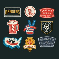 Banger's Patches designed by Curtis Jinkins. Connect with them on Dribbble; the global community for designers and creative professionals. Typography Logo, Typography Design, Branding Design, Patch Design, Tee Design, Austin Texas, Retro Logos, Vintage Logos, Ideas