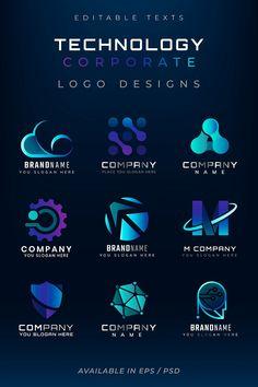 Gradient corporate technology futuristic logo set | premium image by rawpixel.com / Kappy Kappy Typo Logo Design, Corporate Logo Design, Business Logo Design, Corporate Identity, Tecnology Logo, Portal Logo, Marketing Logo, Photo Logo, Tech Logos