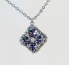 Swarovski  crystal 8mm four stone necklace sparkling vitrail light and clear crystal ,silver plated