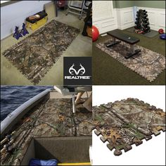 These Camp Floor Tiles can be custom fit together to make a soft and insulating surface anywhere. Boat decks, truck floors, versatile home use and shop flooring. Country Life, Country Girls, Country Style, Camo Rooms, Camouflage Bedroom, Hunting Bedroom, Camo Furniture, Minions, Camo Guns