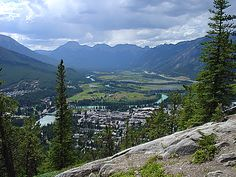 Banff, atop Tunnel Mountain, AB - I was there.  Hard to believe.  BTW  - there are no toilets when you get to the top.  Just sayin',