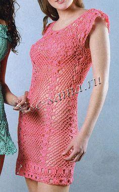 As Receitas de Crochê: Vestido rosa  em crochê