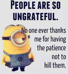 People are so grateful no one ever thanks me for having the patience not to kill them minions