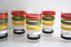 Vintage FIRE KING Anchor Hocking striped tumblers juice glasses set 5 60s 70s on Etsy, $22.00
