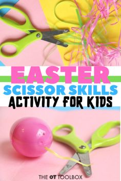 This Easter activity for kids builds scissor skills and fine motor work. It's a great addition to the occupational therapy toolkit for spring. Cutting Activities For Kids, Easter Activities For Kids, Spring Crafts For Kids, Spring Activities, Motor Activities, Science For Kids, Science Crafts, Summer Crafts, Kids Educational Crafts