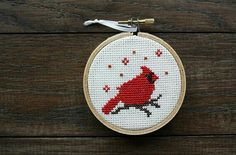 Items similar to Nordic/Scandinavian Cross Stitch Winter Cardinal Ornament on Etsy Cross Stitch Christmas Ornaments, Xmas Cross Stitch, Christmas Cross, Cross Stitching, Cross Stitch Embroidery, Embroidery Patterns, Christmas Ideas, Cross Stitch Designs, Cross Stitch Patterns