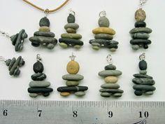 little teeny inukshuk pebble pendants made from Polymer clay Polymer Clay Sculptures, Polymer Clay Creations, Polymer Clay Art, Pebble Painting, Pebble Art, Rock Painting, Stone Crafts, Rock Crafts, Rock Jewelry