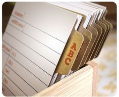 How cute is this desk style address book with letterpress cards.