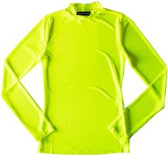 Runner Island Womens Neon Yellow Mesh Workout Top Long Sleeve Sexy Swimsuit Cover Up Mock Turtleneck Pink Mesh Top, Mesh Long Sleeve, Running Women, Running Sports, Swimsuit Cover, Spandex Material, Workout Tops, Bikini Tops, Fit Women