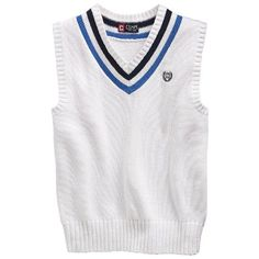 Chaps Cable Knit Sweater Vest White with Blue Stripe Size 8-Blue Crest ** Check this awesome image @