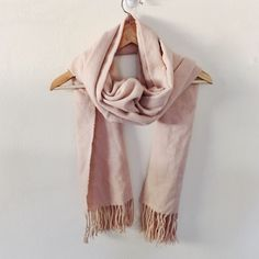 Forever 21 light Pink fringe scarf Iike new pale pink so beautiful color. Was only used once for work. Forever 21 Accessories Scarves & Wraps