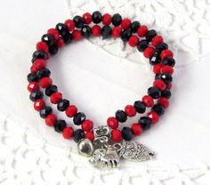 Owl Elephant and bell charms double bracelet Black by jewlerystar