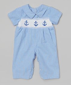 This Fantaisie Kids Blue Anchor Smocked Longalls - Infant by Fantaisie Kids is perfect! Little Boy Outfits, Toddler Outfits, Kids Outfits, Angel Gowns, Baby Boy Fashion, Little Man, Smocking, Anchor, Cute Babies