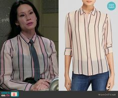 Joan's vertical striped shirt on Elementary.  Outfit Details: http://wornontv.net/48765/ #Elementary