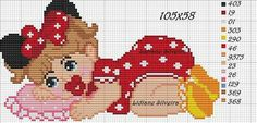 Baby crochet outfits pattern minnie mouse 56 Ideas for 2019 Baby Cross Stitch Patterns, Cross Stitch Baby, Crochet Flower Patterns, Cross Stitch Charts, Beaded Cross Stitch, Cross Stitch Embroidery, Miki Mouse, Homemade Baby Toys, Baby Mouse