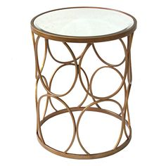 Metal Glam Glass-Top Table 17X21-in