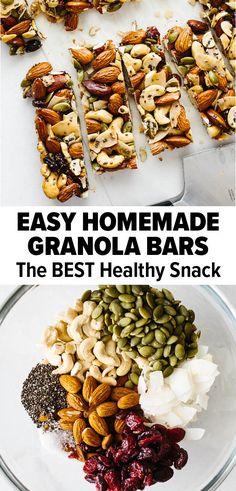 Healthy Granola Bars, Healthy Bars, Healthy Baking, Granola Bar Recipes, Easy Granola Recipe, Nutty Bar Recipe, Oatmeal Recipes, Trail Mix Granola Bar Recipe, Healthy Homemade Granola Bars