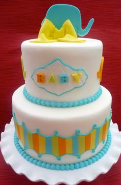 your colors! @Roci Camarillo camacho Camarillo Gonzalez Elephant Baby Shower Cake