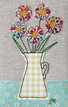Framed freestyle machine embroidery - flowers in yellow jug Freehand Machine Embroidery, Free Motion Embroidery, Machine Embroidery Projects, Applique Embroidery Designs, Machine Embroidery Applique, Hand Embroidery, Embroidery Ideas, Fabric Cards, Fabric Postcards