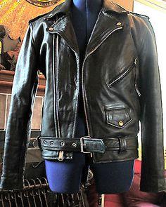 Vintage-PLG-Putnam-Leather-Gold-Black-Leather-Jacket-Size-38-Biker-Motorcycle