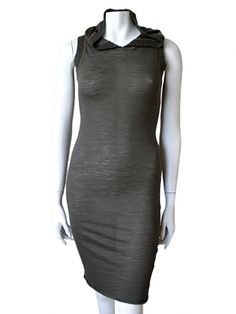 Norio Nakanishi's Sleeveless body-shaped dress with hood, borders in different fabric. Price: $159.00