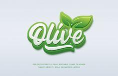 Olive Natural Text Style Effect Premium Psd Text Design, Design Show, Logo Design, Effects Photoshop, Text Effects, Kitchen Logo, Logo Sketches, 3d Text, Leaf Logo