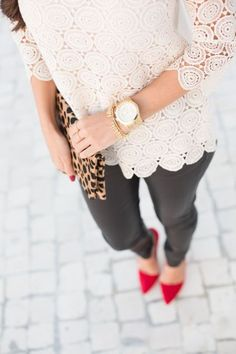 we love everything about this outfit right down to the fun red heels