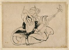 TICMUSart: Seated Woman with Shamisen - Katsushika Hokusai (I.M.)