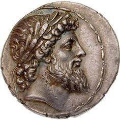 Silver coin depicting Antiochus IV Epiphanes as Zeus. 2nd cent. BC